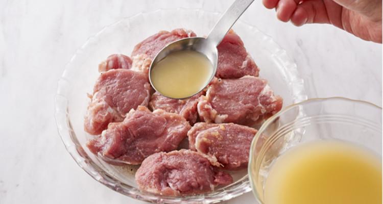 豚肉とリンゴジュース